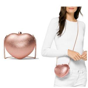 🆕 MICHAEL KORS Heart Leather Clutch Crossbody Bag